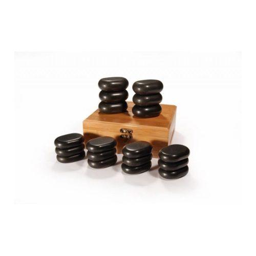 pietre basaltiche per stone massage, e cofanetto in legno