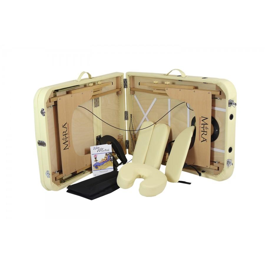 lettino pieghevole e tutti gli accessori beige, new relax 65 in legno