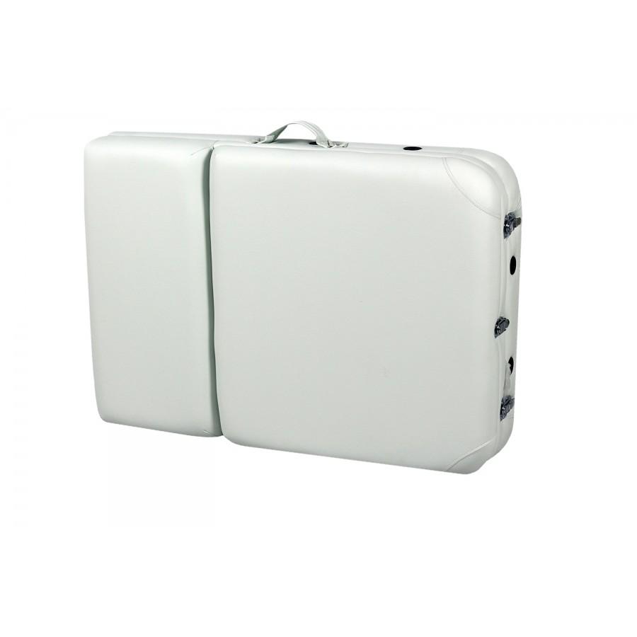 lettino portatile bianco, chiuso, per trasporto