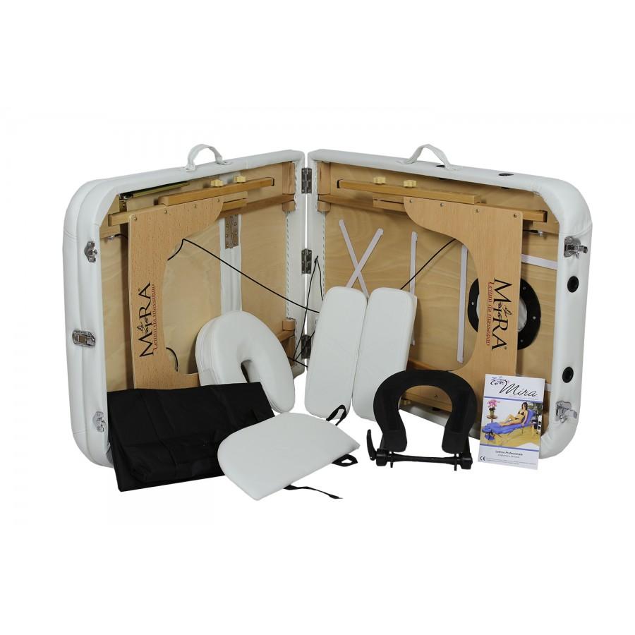 lettino portatile e tutti gli accessori bianchi, new relax 65 in legno