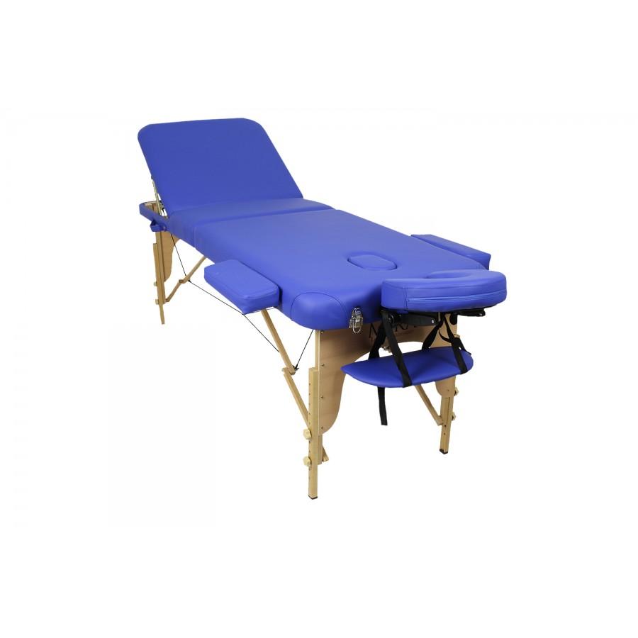 Lettino portatile new relax 65, in legno, con materassino blu