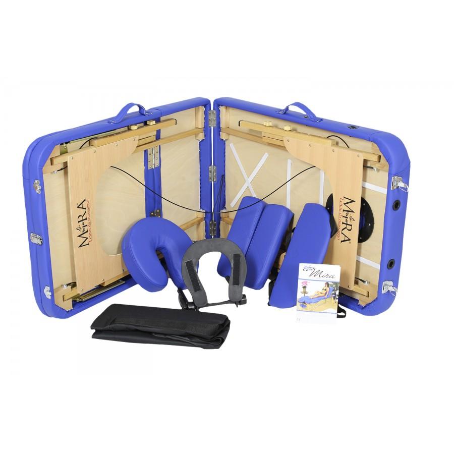 lettino portatile mira, e tutti gli accessori blu, new relax 65 in legno