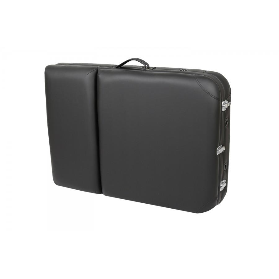 lettino portatile nero, chiuso, per trasporto