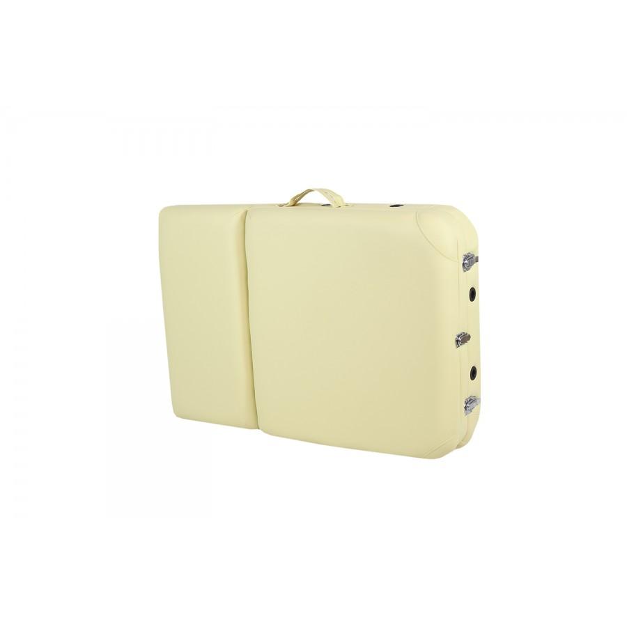 lettino portatile beige, chiuso, per trasporto