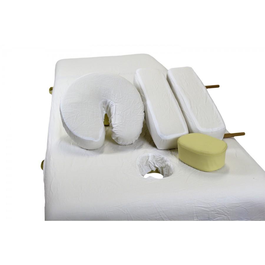 copri lettino in cotone, sistemato su lettino e accessori