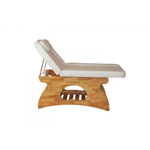 elegante lettino da massaggio, con base in legno e schienale regolabile