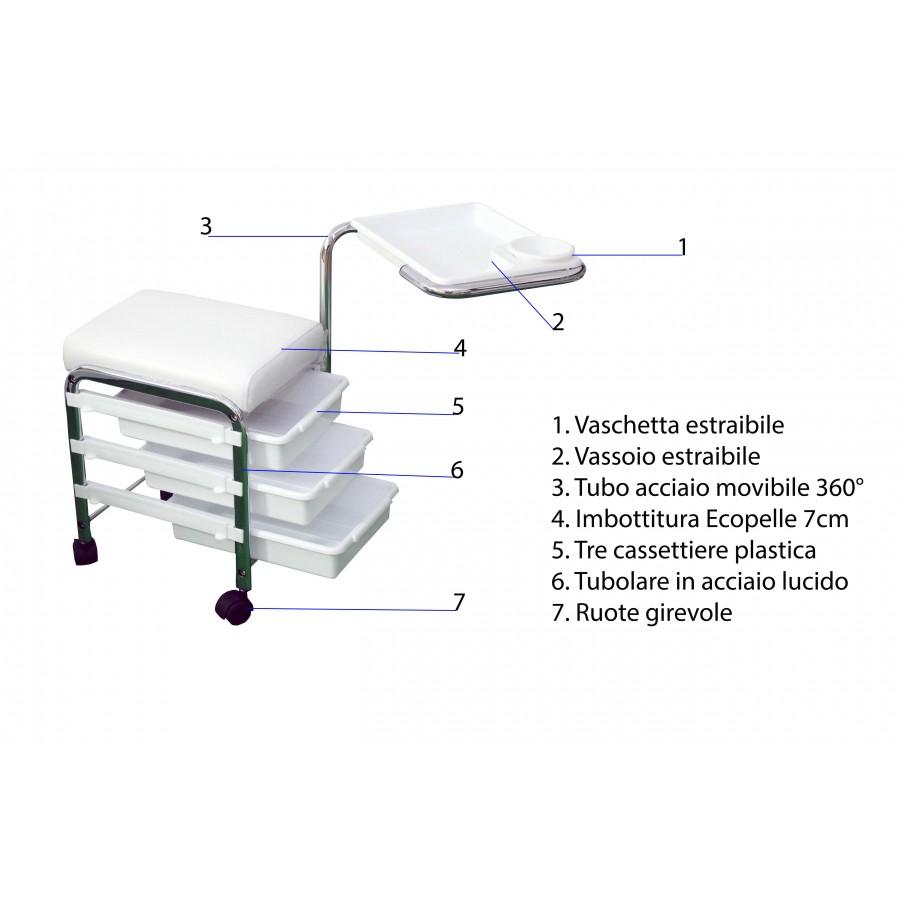 poltrona e carrello con vassoi estraibili, utile anche per pedicure