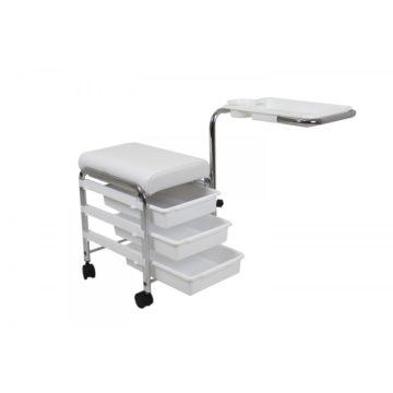 poltrona e carrello ch5005, colore bianco, utilizzata per pedicure e manicure