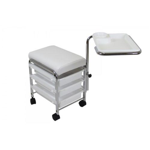 salvaspazio pedicure e manicure, carrello con contenitori e comoda seduta