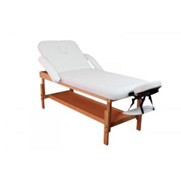 lettino da massaggio e terapia, modello nuvola, struttura in legno e imbottiture bianche