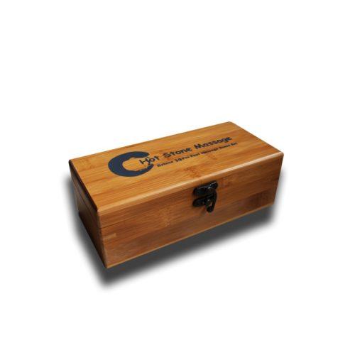 scrigno in legno per set di trenta pietre basaltiche, hot stone massage