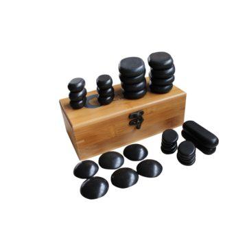 set di trenta pietre basaltiche, con scrigno in legno per conservazione