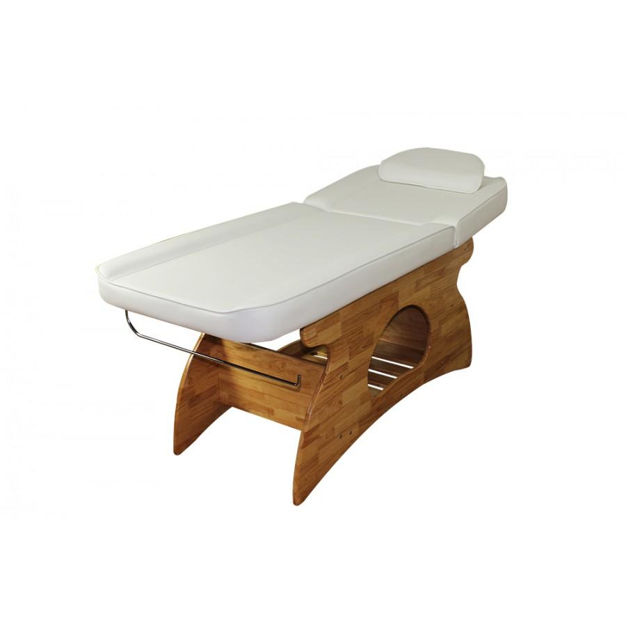lettino da massaggio melissa, bianco con base in legno