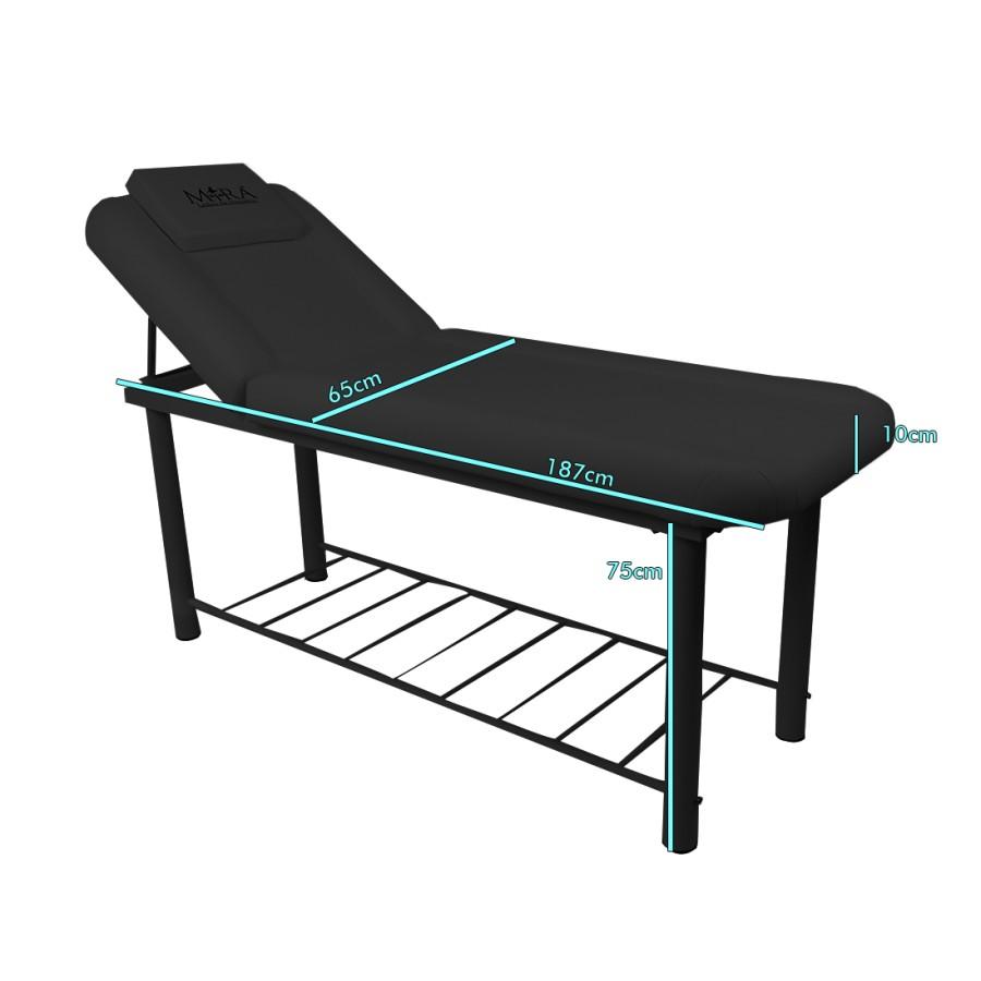 lettino da massaggio fisso, nero, modello onda di mira sas