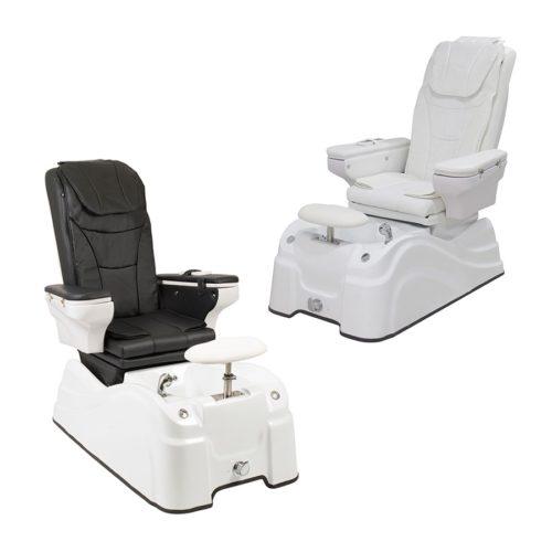 poltrona pedicure spa caln, bianca e bianca con seduta eschienale neri