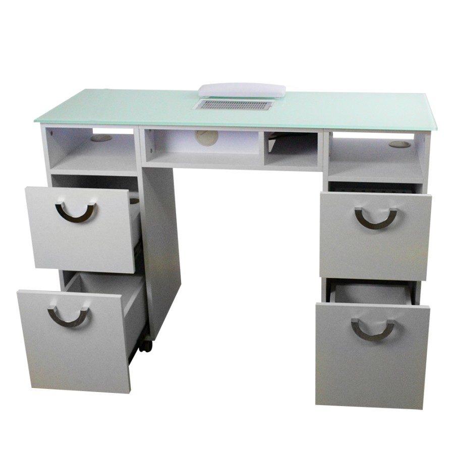 tavolo per estetista, con aspiratore e piano in vetro temperato, 2 cassettiere