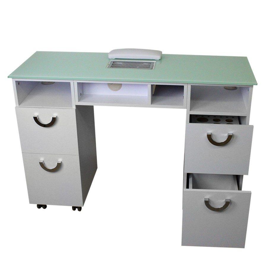 tavolo da manicure dp78, con vetro temperato verde