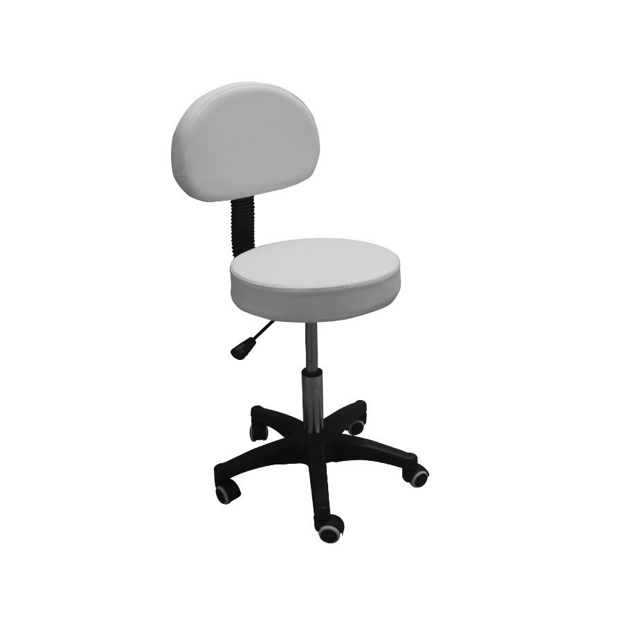 sgabello fm 91, colore bianco, con schienale, 5 ruote, regolazione altezza