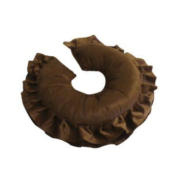 ciambella poggiatesta marrone, con bordino