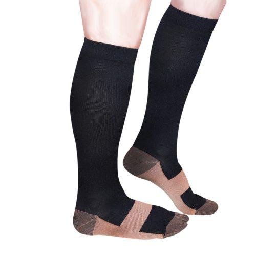 calzini in fibra di rame neri, mira, alti fino al ginocchio
