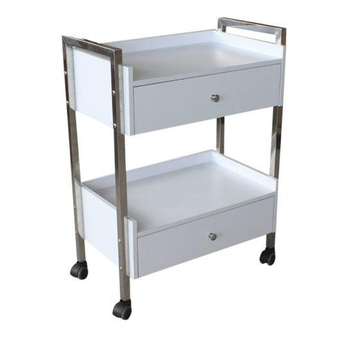 carrello per estetica e centri spa con due cassettiere, laterale