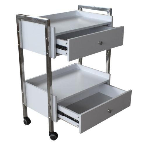 carrello per estetica e centri spa con due cassettiere, aperto, estraibili