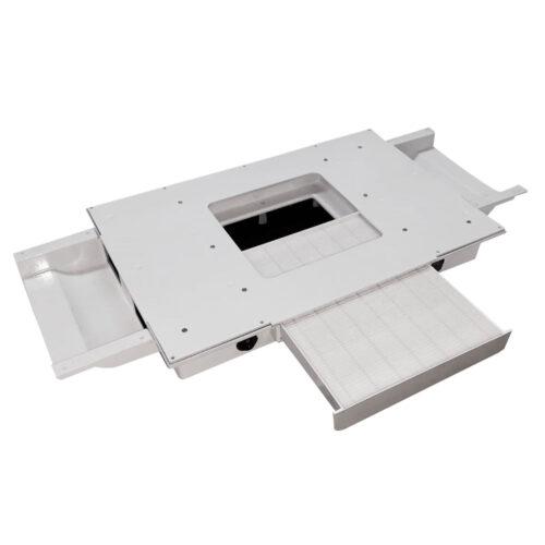 Aspiratore per manicure ed estetica da 100W con cassetto aperto, bianco, per uso professionale