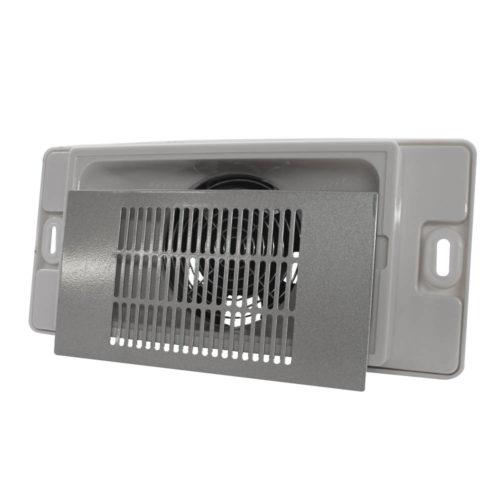 aspiratore per tavoli da manicure bianco con griglia argentata, vista frontale