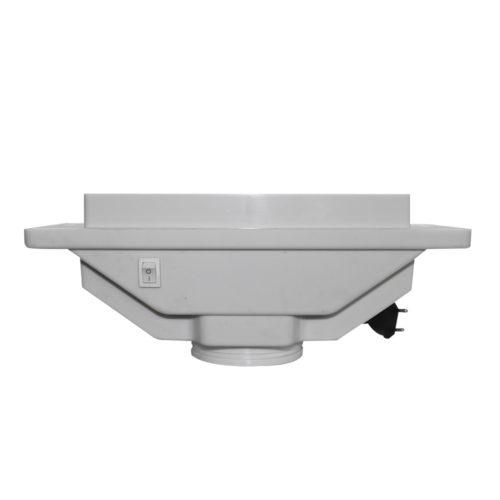 aspiratore per tavoli da manicure bianco con griglia argentata, vista laterale