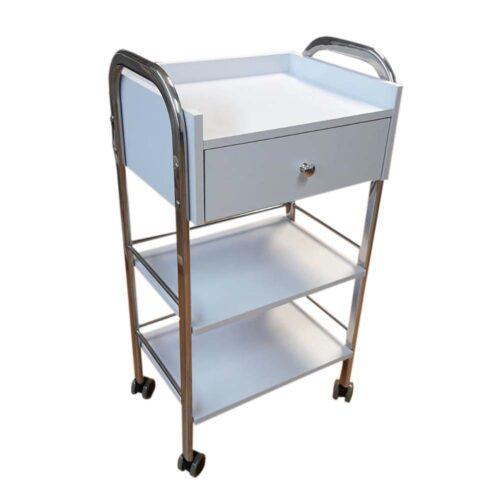 carrello estetica in legno, bianco opaco, e metallo lucido, con cassetto e 3 ripiani