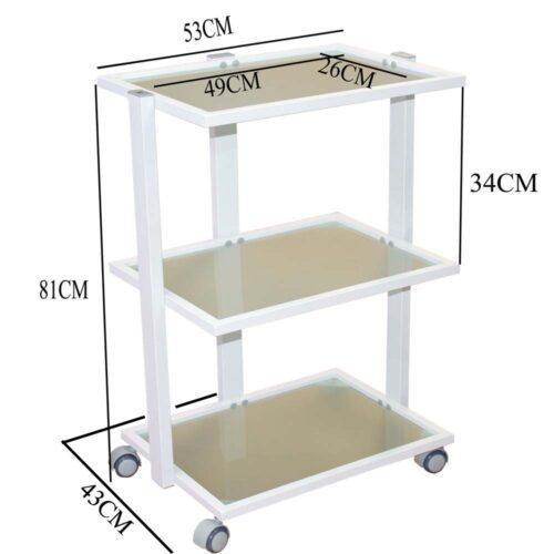 carrello per estetista bianco, 3 ripiani in vetro temperato, con misure