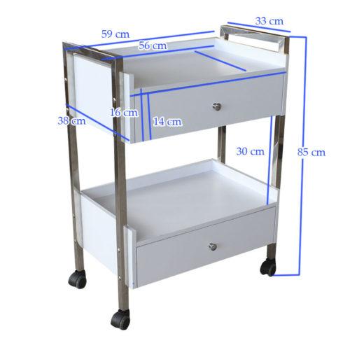 carrello per estetica e centri spa con due cassettiere, misure