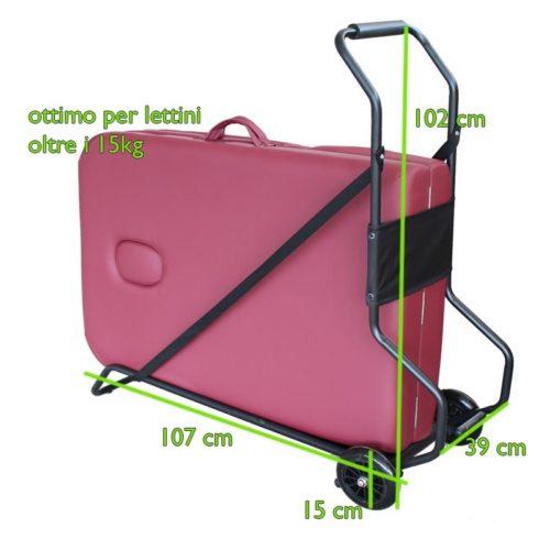 carrello per trasporto lettino da massaggio pieghevole, misure