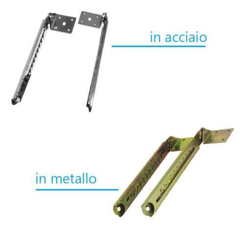 coppia di cerniere per alzata schienale dei lettini da massaggio, differenze modello acciaio e metallo