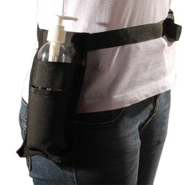 cintura porta olio, in nylon nero, regolabile, indossata, universale