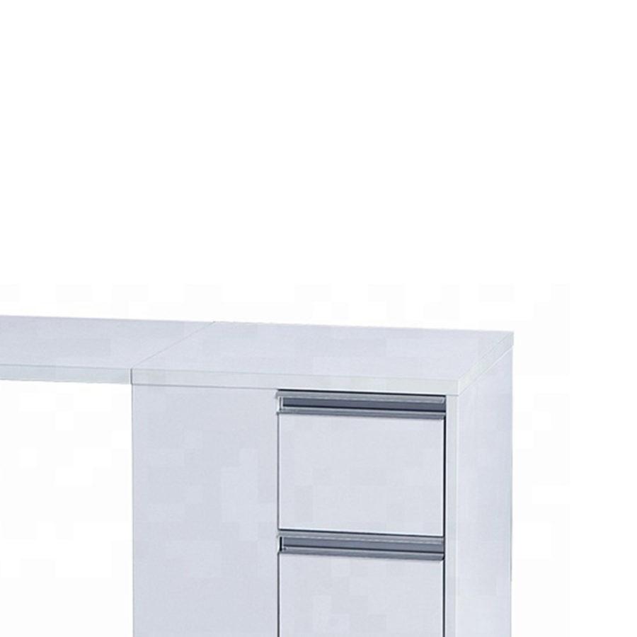 Tavolo da manicure richiudibile Dp-38, vista angolare, colore bianco, con cassetti
