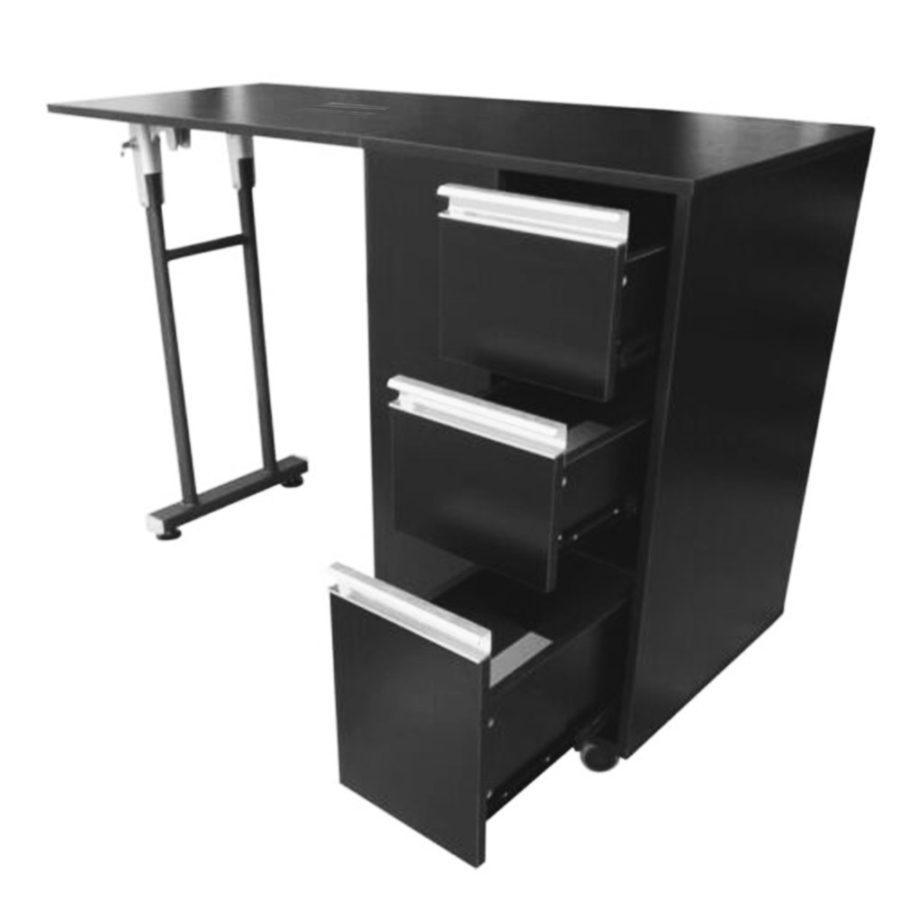 tavolo da manicure richiudibile, nero, con 3 cassetti