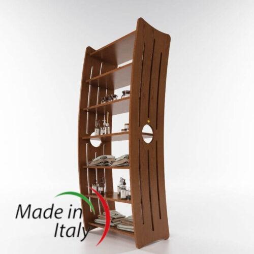 mobile espositore per arredare centri estetici, legno color ciliegio