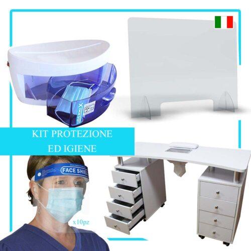 kit di protezione germi, sterilizzatore uv, visiera protettiva, barriera in plexiglass