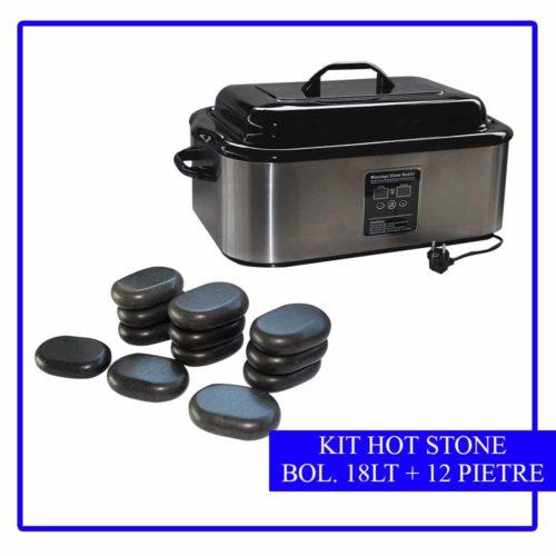 kit 12 pietre stone massage più bollitore da 18 lt
