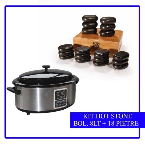 kit 18 pietre stone massage più bollitore da 8 lt