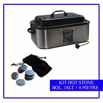 kit 8 pietre stone massage più bollitore da 18 lt