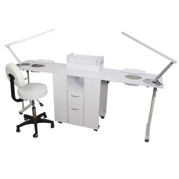 kit per manicure e nail art con tavolo richiudibile doppio, bianco, con sgabello e lampade led di design