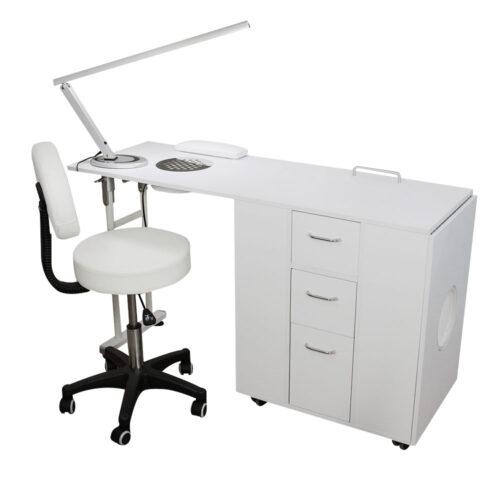 kit per manicure e nail art con tavolo richiudibile doppio, bianco, con sgabello e lampade led di design, tavolo chiuso