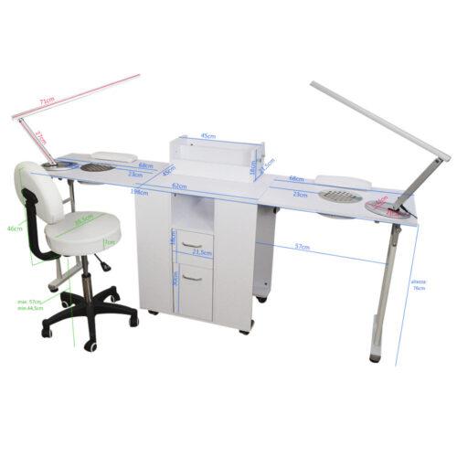 kit per manicure e nail art con tavolo richiudibile doppio, bianco, con sgabello e lampade led di design: misure
