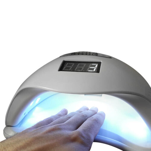 lamdada a led mira professionale per gel e unghie, con timer bianco, per centro estetico e manicure, accesa, led a vista, colore freddo