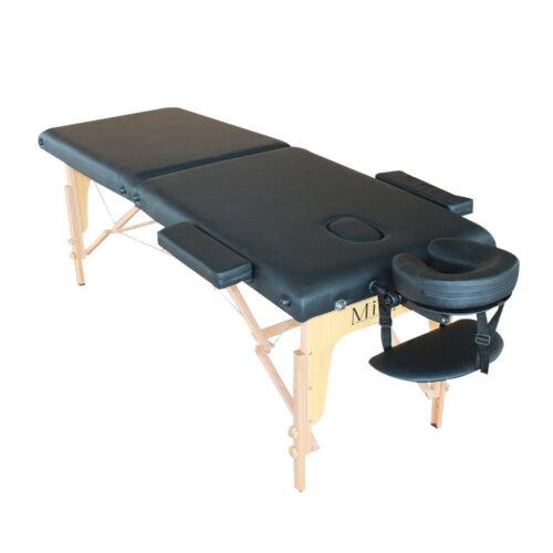 elegante lettino da massaggio nero, pieghevole e trasportabile, solo 12 kg