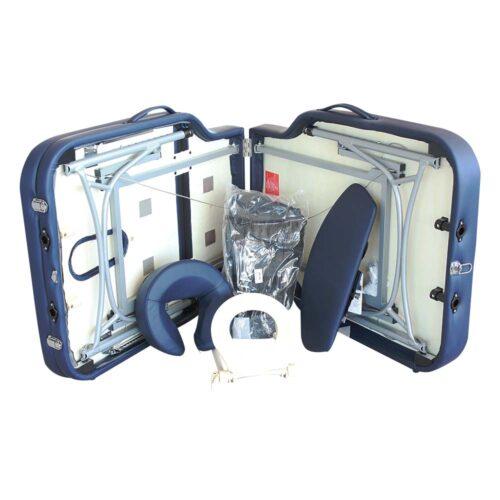 lettino gabriel aperto con accessori, color blu navy, alta qualità
