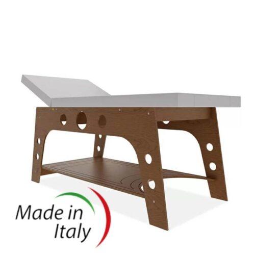 lettino da massaggio moderno, modello fisso in legno, color ciliegio