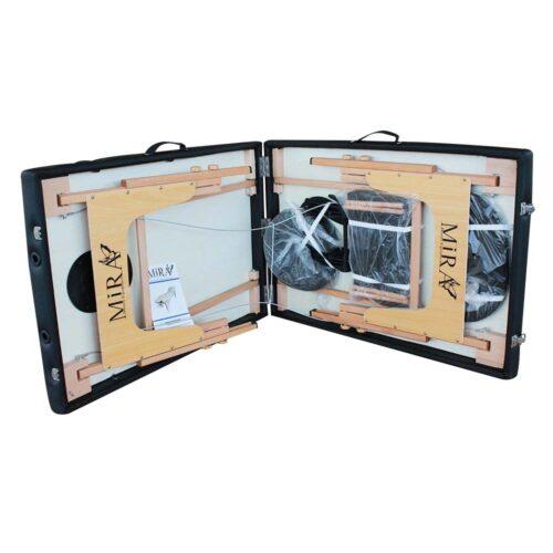 lettino portatile ecolight nero aperto con accessori